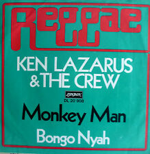"7"" 70s REGGAE SUPERRARE LONDON VG+ ! KEN LAZARUS & THE CREW : Monkey Man"