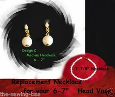 "Replacement Necklace & Earrings 7-8""  Vintage Head - Vase Headvase gold"