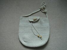 Women's Cream Ivory Cross-Body Bag Handbag Purse Wooden Beads