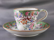 Set 8 Antique English Handpainted Floral Demitasse Cup Saucer Branch Handle