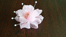 UK-Pink -Organza Ribbon Flowers-  Appliques,Trimmings ,Wedding- 50mm x 1