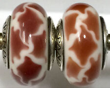 2 pieces  Authentic Pandora 925 ale silver beads charm glass giraf y