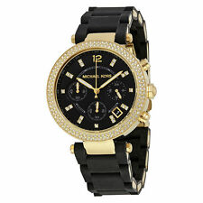 Michael Kors Women's Parker Black Silicone Wrapped Gold Bracelet Watch MK6404