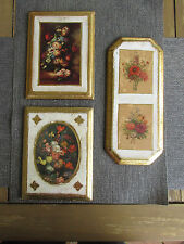3 Vintage Italian Florentine TOLEWARE Wall Plaque PictureS FLORAL VICTORIAN ERA