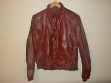 Vtg 1980's Leather Loft Oxblood Leather MOTORCYCLE CAFE RACER Jacket Mens Sz 42