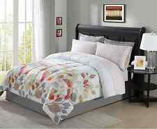 Brown Gray Rust (Red) White Floral 8 piece Comforter Bedding Set Full Size