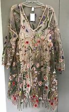 "H&M Embroidered dress ""SPRING COLLECTION"" Powder beige/Floral SIZE: M/L HM"