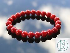 Red Coral Natural Gemstone Bracelet Beaded 7-8'' Elasticated Chakra Healing