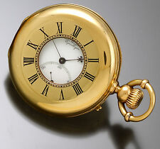 Rare Antique Jules Jurgensen Pocket Watch 18K Gold 44mm Demi Hunter Case CA1860s