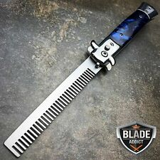 Automatic Push Button Folding Comb Switchblade Knife Looking Brush Blue Pearl--H