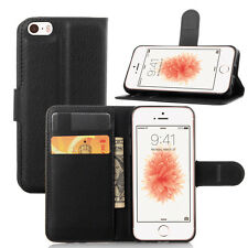 Black Pu Leather Flip Magnetic Card Slot Wallet Case Cover for iPhone SE/5G/5S