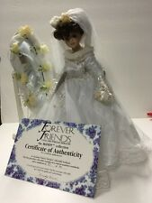 Collectible Porcelain Heirloom Bride Doll With Mirror Stand And Certificate