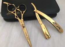 "Professional Hairdressing ScissorBarber Salon  6.5"" GOLD Set With Razor"