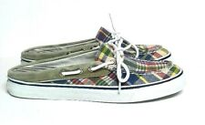 Sperry Topsider Madras Shoes Slip on Mules Red Green Blue White Women's 8