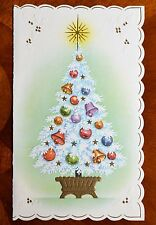Vintage UNUSED Christmas Card EMBOSSED GOLD / BLUE POTTED TREE with BELLS
