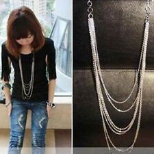 Fashion Elegant Womens Multi-layer Chain Pendant Long Sweater Necklace Hot