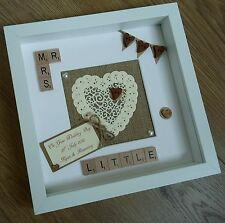 Wedding gift Personalised Scrabble tile Frame Anniversary Mr/Mrs Rustic picture