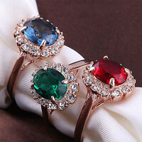 Top Quality 18K Gold Plated Emerald Finger Rings Zirconia Crystal Women Jewelry