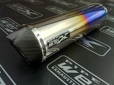 Kawasaki ZXR 400 J + K ZXR400 Coloured Ti Round Carbon Outlet Race Exhaust Can