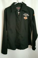 Harley-Davidson Wichita Falls Texas Staff Womens Black Button Up Shirt Top-NICE!