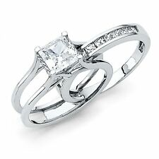 2 Ct Princess Cut 2 Piece Engagement Wedding Ring Band Set Platinum Finish