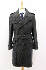 NWT Tom Ford Mens 100% Wool Belted Robe Coat W/100% Leather Detailing Sz 48/38US