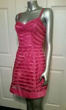 100% AUTHENTIC NWT BEBE RIBBON STRIPED FLARED   DRESS SIZE SMALL