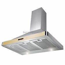 "36"" Wall Mount Stainless Steel Kitchen Range Hood Stove Vent Gold Touch Control"