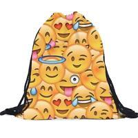Unisex Emoji Backpacks 3D Printing Bags Drawstring Backpack A1