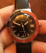 Vintage 1980 Timex Men's Diver Pepsi Style Wristwatch With Date L@@K Read!