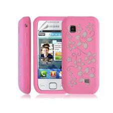 coque étui en silicone pour Samsung Wave 575 S5750 fleurs rose + Film