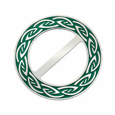 Celtic Annulus Round Green Enamel Scarf Ring