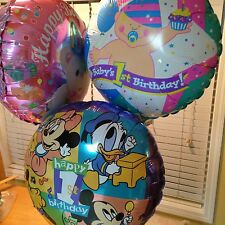Baby Minnie Mickey Disney Happy 1st Birthday Bear Baby Mylar BALLOON Lot 13 pc