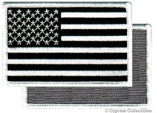 AMERICAN FLAG EMBROIDERED PATCH BLACK WHITE USA US w/ VELCRO® Brand Fastener