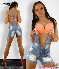 Women's Dungarees Hot Pants Sexy Ladies Summer Denim Shorts Size 6,8,10,12,14 UK
