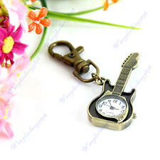 Retro Unique Design Guitar Quartz Keyring Pendant Key Chain Pocket Watch Gift