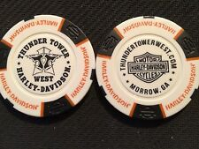 "Harley Davidson Poker Chip (White & Black) ""Thunder Tower West"" Morrow, Georgia"