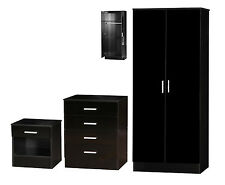 Galaxy Gloss Effect 3 Piece Bedroom Furniture Sets Wardrobe Bedside Chest Draws
