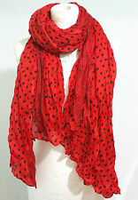 Beautiful Red Polka Dot Spotted Crinkle Scarf Wrap Shawl Scarves Hijab Maxi