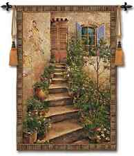EUROPEAN STAIRWAY VILLA SIENA ART TAPESTRY WALL HANGING LARGE 53x75