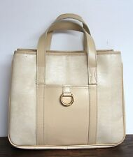 AUTHENTIC LANCEL FRANCE IVORY GENUINE LEATHER LIZARD PVC PURSE HANDBAG TOTE BAG