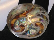 Gorgeous Vintage .925 Sterling, Mother of Pearl, Abalone Shell Brooch Taxco