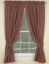 UNLINED CURTAIN PANELS 72X63 IN WINE TAN PLAID STURBRIDGE PARK DESIGNS ONE PAIR