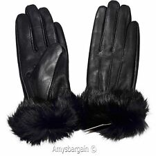 Women's Gloves, Leather Gloves, Real Fox fur, (S) Warm Lined Winter Dress Gloves