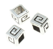 100 Antique Silver Ribbed Rectangle 5x4mm Spacer Beads For Jewellery BUY 3 FOR 2