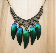 Unusual necklace with real beetle wings  # 17 emerald color