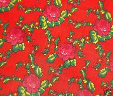 FOLK COSTUME FABRIC 100% cotton red floral printed skirt Poland Slovak Romanian