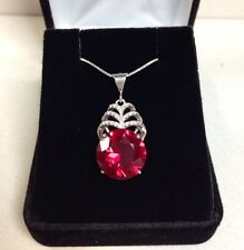 GORGEOUS Ruby & White Sapphire Sterling Silver Cascade Pendant Necklace NWT 18""