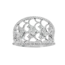 WIDE 14K WHITE GOLD PAVE ROUND DIAMOND  LACE FILIGREE BAND COCKTAIL RING