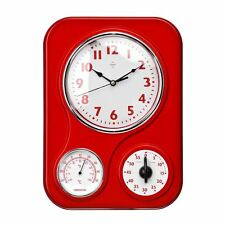 Plastic Kitchen Wall Clock Rectangular With Timer & Temperature Display - NEW